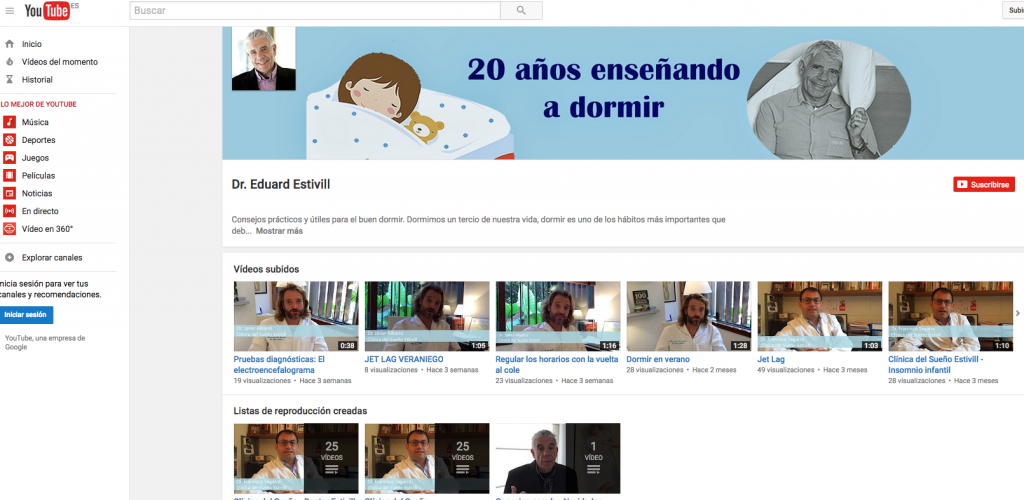 Canal YouTube Doctor Estivill